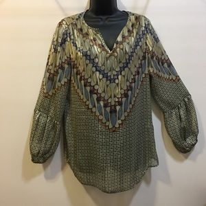 Chico's size 1 (Med) sheer long sleeve bell top